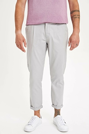 DeFacto Tapered Fit Chino Pantolon Gri